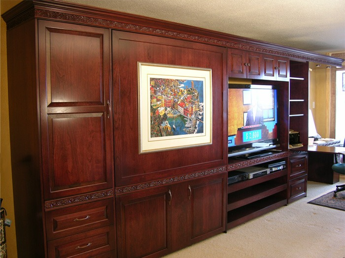 Murphy Bed Home Office with custom lighting