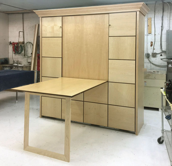 Murphy Bed With Table 2 King Maple Accentpanels 700p
