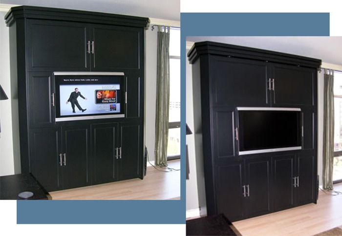 Even With The Television Off This Black Oiled Lacquer Finished Murphy Bed System Looks Very Elegant In Mrs Norris S Living Room Is 71 Wide