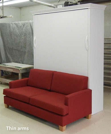 murphy bed sofa with custom thin arms design