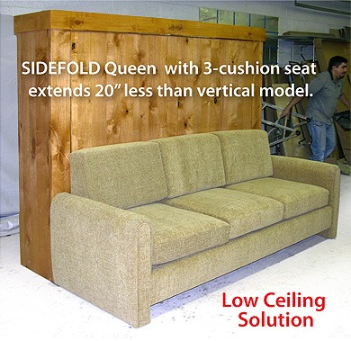 murphy bed sofa sidefold queen style with 3-cushion seat