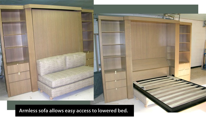 murphy bed sofa armless sofa allows easy access to lowered bed