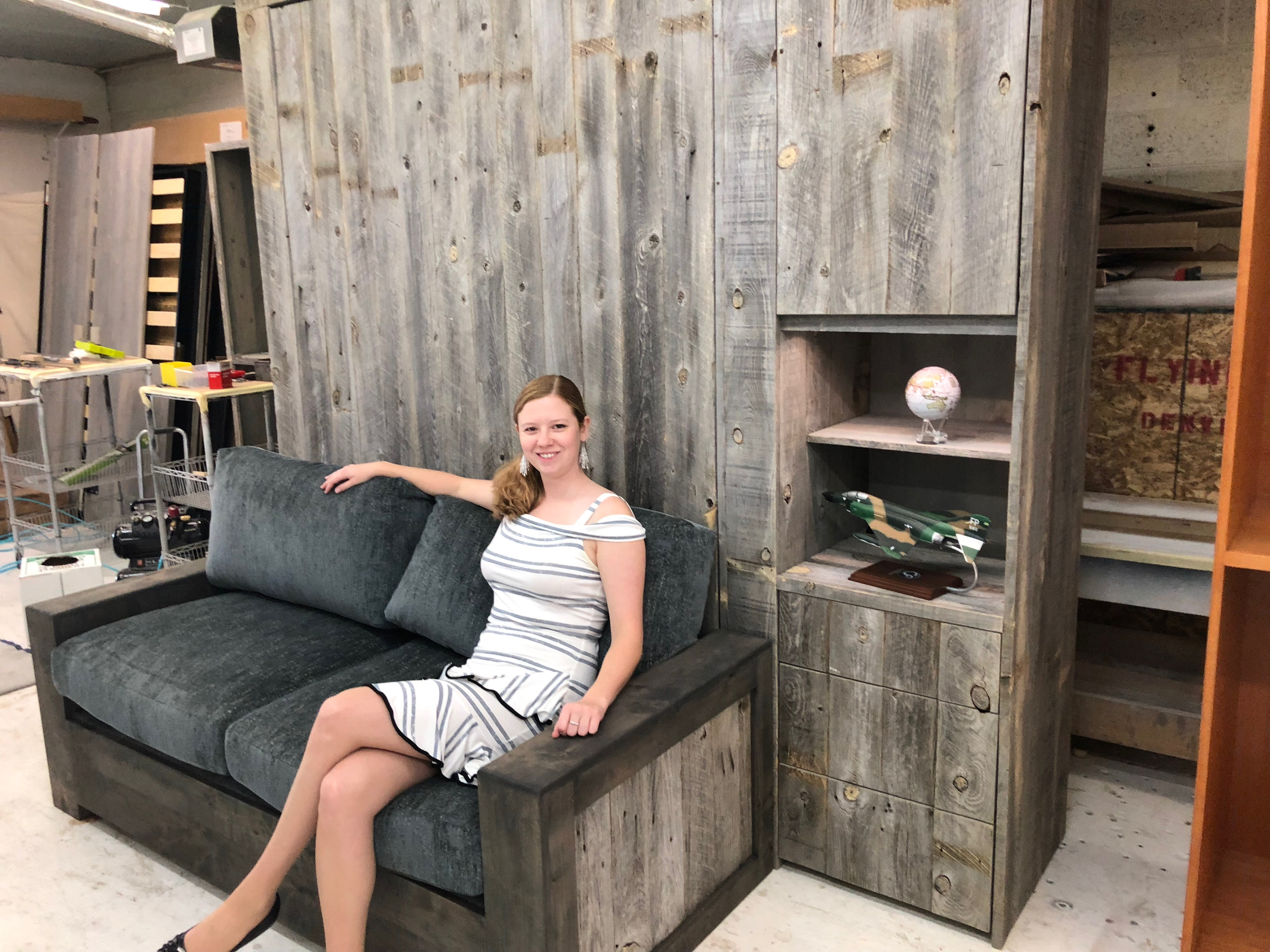 reclaimed wood murphy bed with sofa